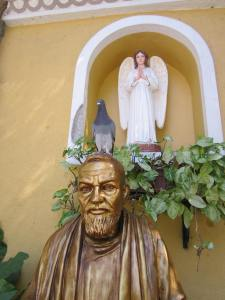 Perched atop the head of the image of Padre Pio.