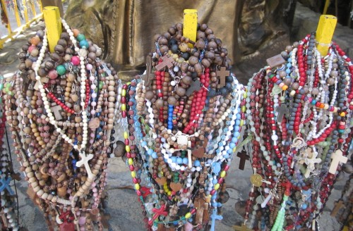 Rosaries left by Padre Pio devotees at St. Padre Pio Chapel in Libis, QC.