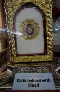 A first class relic - a piece of cloth imbued with JP II's blood. ©Dreams and Escapes