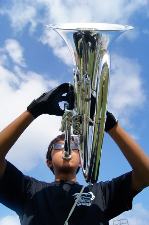 The baritone horn is a low-pitched brass instrument. Baritone horn is a piston valve brass instrument with a predominantly cylindrical bore like the trumpet  and uses a wide-rimmed cup mouthpiece.