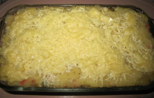Mom loves the melted cheese and mashed potato on top. Baked it just to melt the cheese.