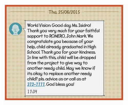 a copy of a letter she received from World Vision...