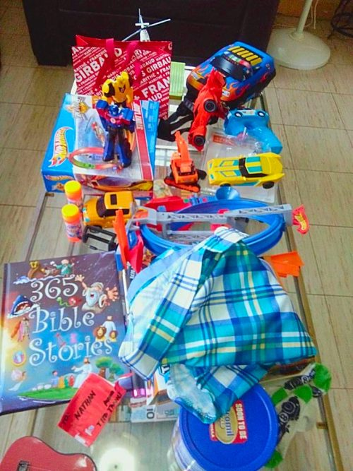 Nate's loot for Christmas...mostly toys!